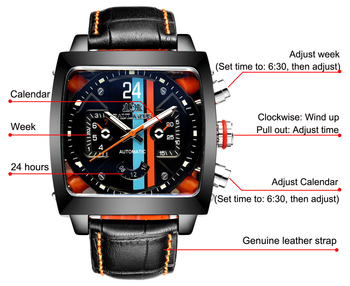 Automatic Self Wind Mechanical Genuine Leather Stainless Steel Black Orange Blue Casual Perspective See Through Men Watch 2