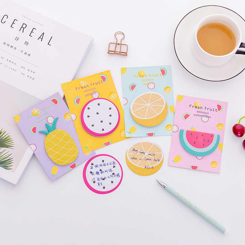 Student stationery office stationery Creative small fresh kawaii fruit notes DIY sticky notes a pack 30 pcs student stationery