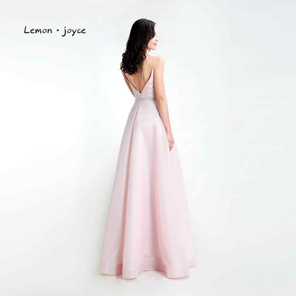 Lemon joyce розовые Выпускные платья Длинные 2020 сексуальные с v-образным вырезом и открытой спиной простые трапециевидные Выпускные платья больших размеров