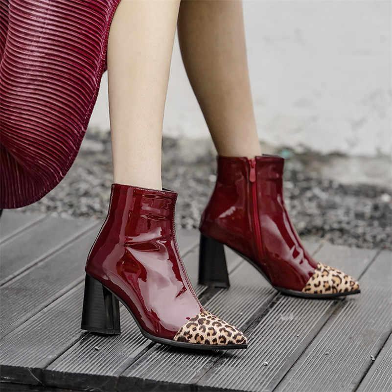 ANNYMOLI Kış yarım çizmeler Kadın Leopar Kalın Yüksek Topuk kısa çizmeler Patent Deri Fermuar Ayakkabı Bayan Sonbahar Artı Boyutu 33-46