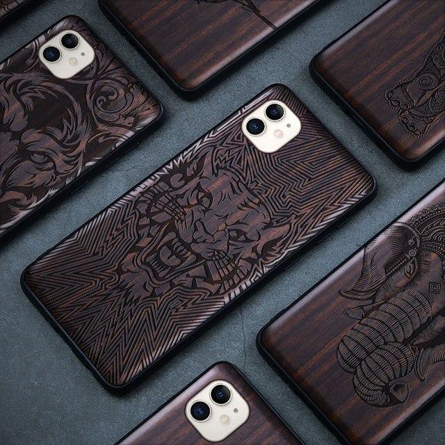 حافظة لهاتف آيفون 11 برو من الخشب الأسود حافظة لهاتف آيفون 11 برو ماكس خشبية SE 2020 حافظة لهاتف آيفون 7 8 Plus X Xr XS 11 Pro Max Funda