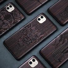 שחור עץ 11 פרו מקרה עבור iPhone 11 פרו מקסימום מקרה עץ SE 2020 כיסוי TPU Coque עבור iPhone 7 8 בתוספת X Xr XS 11 Max Pro Funda