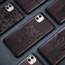 ブラックウッド11プロケースiphone 11プロマックスケース木製se 2020カバーtpu coque iphone 7 8プラスx xr xs 11プロマックスfunda