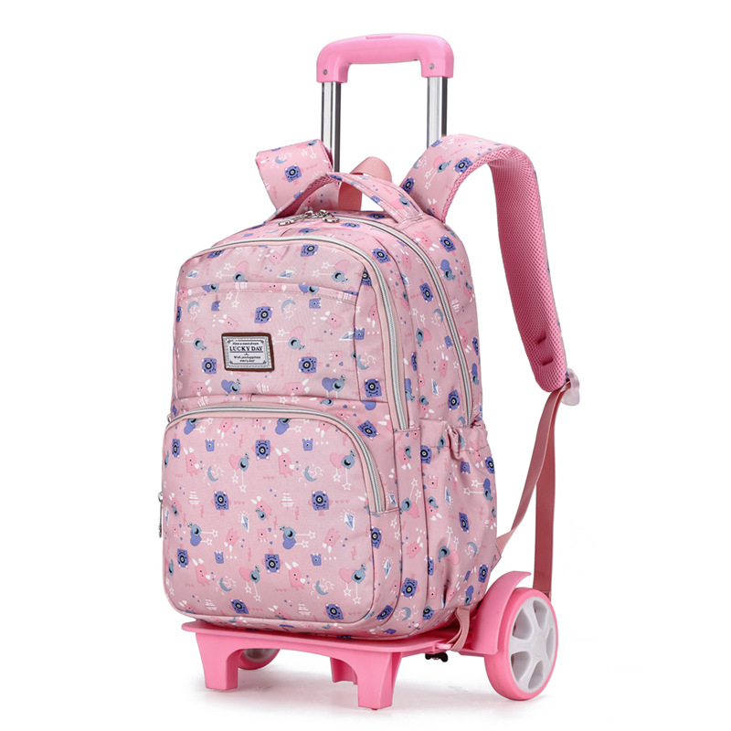 NEW Student School Bag Rolling Backpack Kids Trolley Bag For Girl School Backpack Wheeled Bag Children Trolley Backpack Wheels
