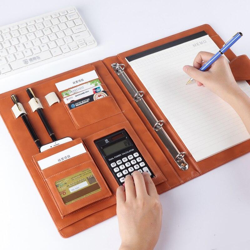 Portefeuille d'affaires Padfolio A4 organiseur en cuir 4 reliure à anneaux Padfolio pour Documents A4