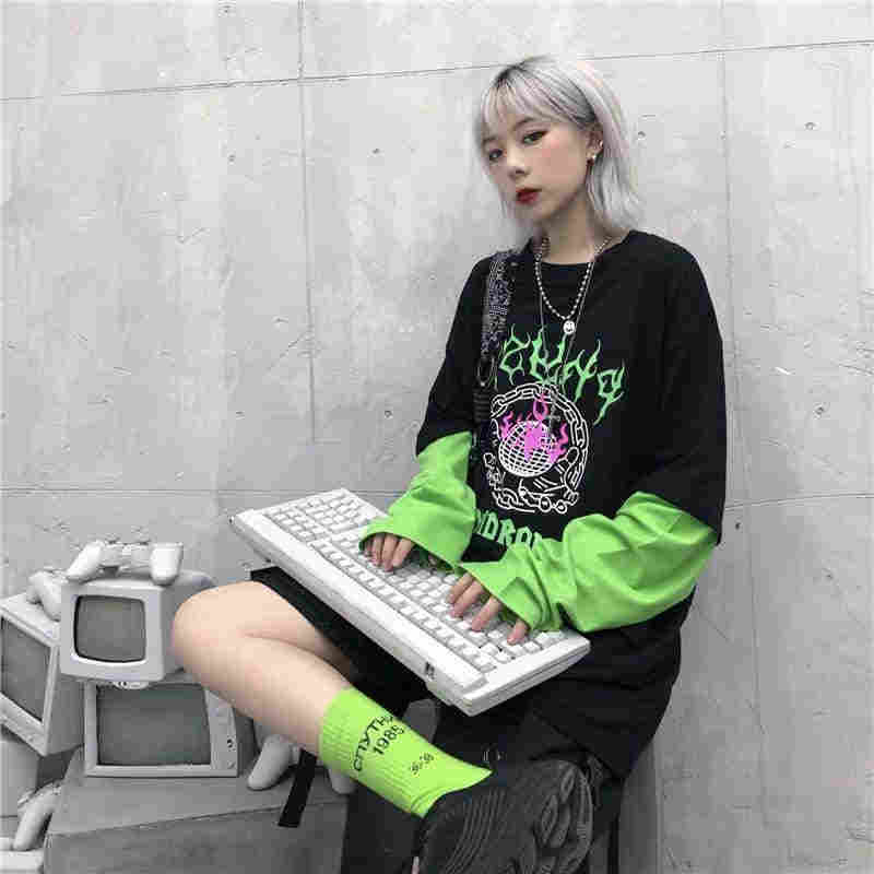 NiceMix Harajuku floresan yeşil mektuplar baskı sahte 2 parça Patchwork Tee gömlek sonbahar sokak uzun kollu T-Shirt kadın erkek