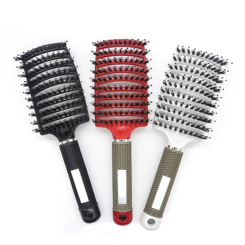 5 Color Women Hair Scalp Massage Comb Bristle Nylon Hairbrush Wet Curly Detangle Hair Brush For Salon Hairdressing Styling Tools