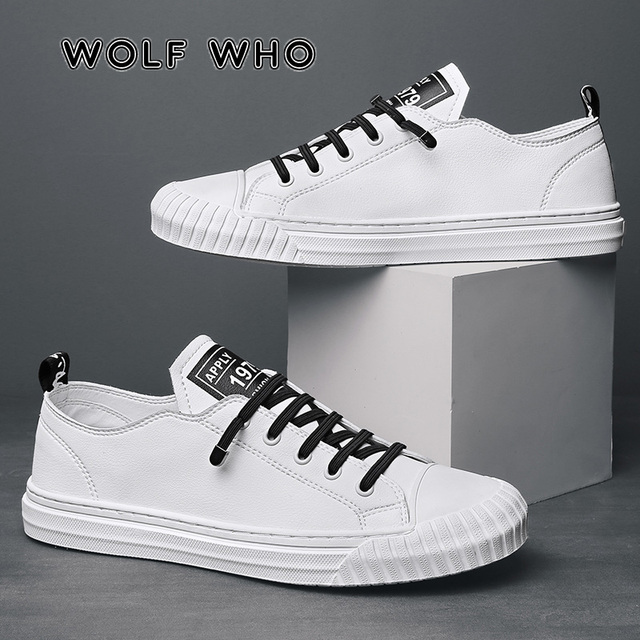 WOLF WHO 2020 Fashion Brand Men Casual Shoes Breathable White Sneakers Male Lace up Board Shoes Moccasins Tenis Masculino X 060