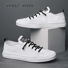 Мужские повседневные туфли WOLF WHO, белые дышащие кроссовки на шнуровке, Мокасины, теннисная обувь для мужчин, модель 2020 года