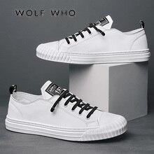 Wolf Die 2020 Fashion Brand Mannen Casual Schoenen Ademend Witte Sneakers Mannelijke Lace Up Board Schoenen Mocassins Tenis Masculino X 060