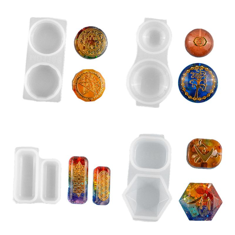 Faceted Orgonite Resin Pendant Mold Crystals Stones Orgone Silicone Resin Mold