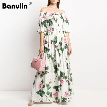 Merchall 2020 Summer Fashion Runway Maxi Dress Women's Off Shoulder Short Sleeve Rose Flower Floral Print Holiday Long Dress blue floral print off shoulder maxi dress