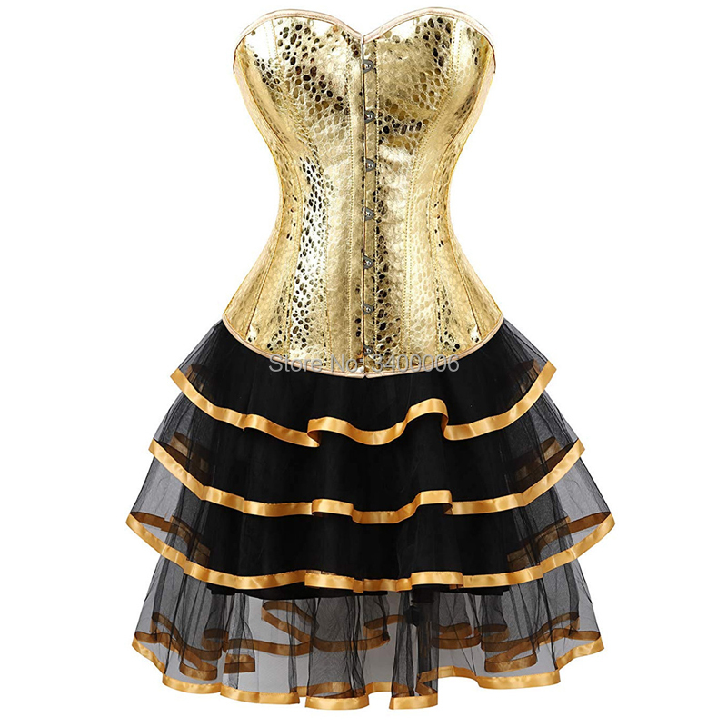 Leather Corset Bustiers Skirts Dresses Tutu Burlesque Sexy Corselet Overbust Costume Cosplay Gothic Plus Size Gold With Bling