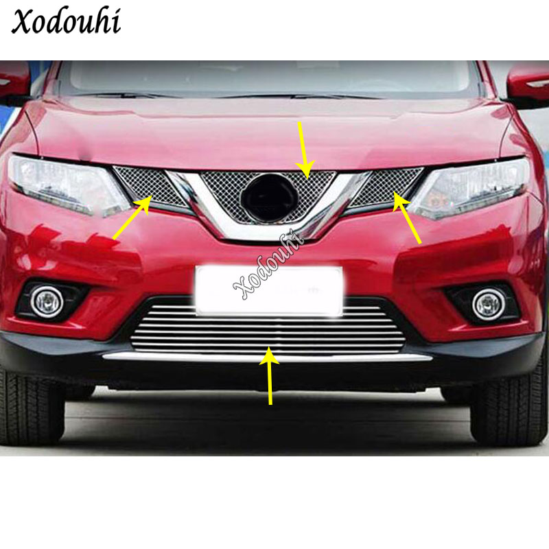 For Nissan X-trail Xtrail T32/Rogue 2014 2015 2016 Car Cover Stick Racing Bezel Trim Front Grid Grill Grille License Plate Frame