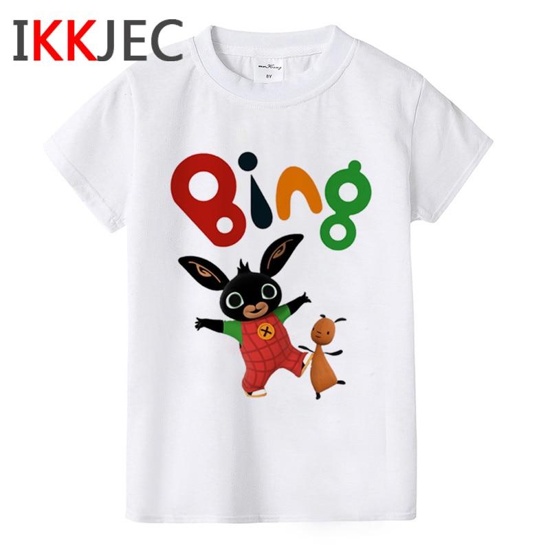 Children Bing Bunny Funny Cartoon T Shirt Kids Bing Bunny Kawaii Print T-shirt Boys Girls Cute Anime Tshirt Short Sleeve Top Tee