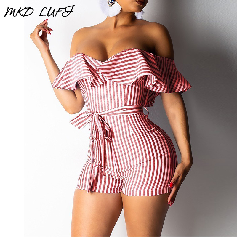 Striped Off Shoulder Ruffles Design Rompers Women Jumpsuit Female Sexy Bowknot Playsuit One Piece Overalls For Women