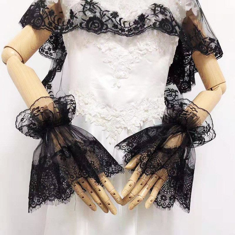 MIARA.L Lace Mesh Lace False Sleeve Sleeve Japan And South Korea Only Beautiful Gloves Large Horn Hand Sleeve Decoration Sleeve