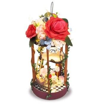 DIY Casa de Campo Marco de hierro puede colgar colgante hecho a mano modelo jardín secreto juguetes para niños regalo de San Valentín u