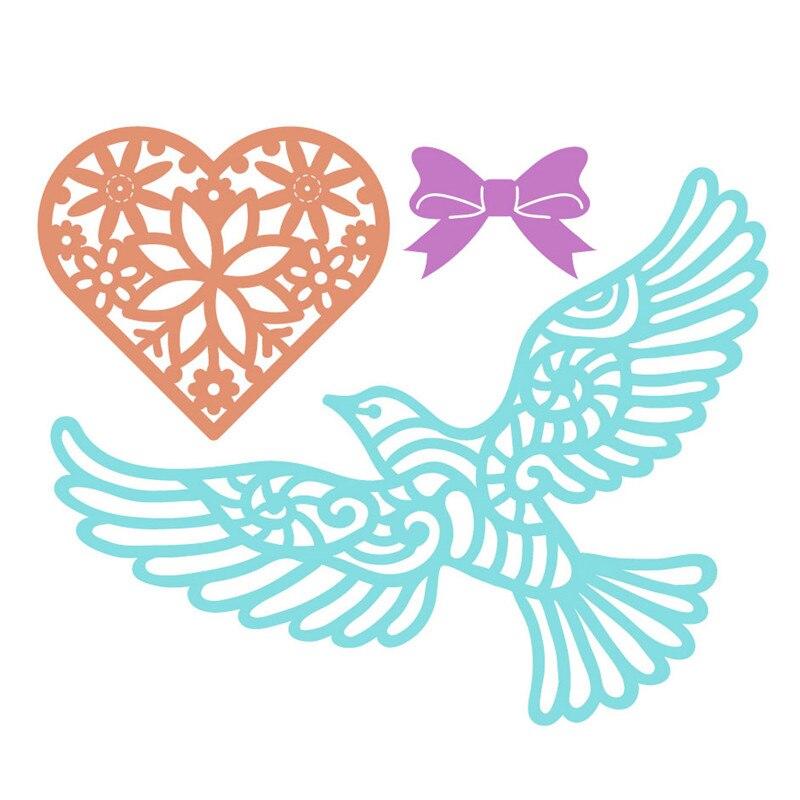 Easter Heart Lovebirds Cutting Dies Stencils Scrapbook Decors Embossing Machines
