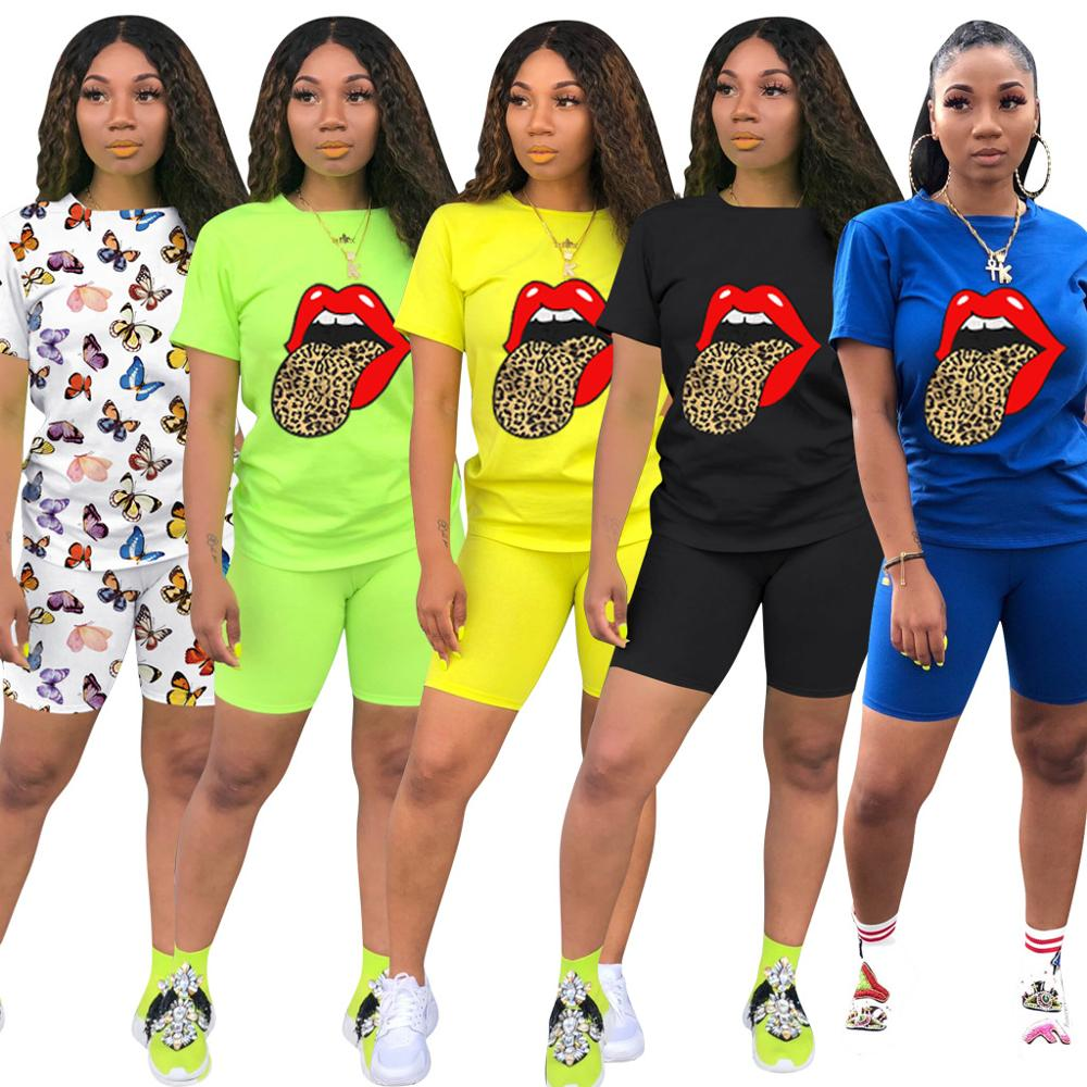 2020 New Women Print Two Pieces Biker Shorts Sets T-Shirt + Biker Shorts Outfits 2 Piece Set Fitness Women Summer Tracksuits