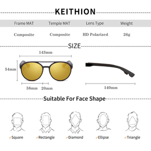Image 3 - KEITHION Retro Round Polarized Sunglasses Steampunk Men Women Brand Designer Glasses Oculos De Sol Shades UV Protection