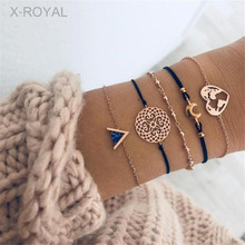 X-ROYAL 5Pcs/set New Vintage Black Pine Stone Charm Map Moon Heart Pendant Bracelets Women Fashion Link Rope Chain Bracelet Sets