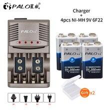 4pcs 9V 6F22 300mAh ni-mh rechargeable battery + smart LED charger for  AA AAA 9V 6F22 Ni-MH Ni-Cd travel EU US UK AU plug стоимость