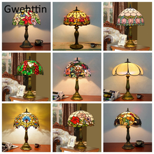 Vintage Tiffany Table Lamps Mediterranean Baroque Stained Glass Led Stand Desk Light Fixtures Bedroom Bedside Lamp Home Decor mediterranean tiffany pendant lights stained glass lamp light for kitchen home decor lighting fixtures vintage led luminaire