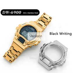 Watchbands And Bezel For DW-6900 Series 316L Stainless Steel Metal Case Strap Modified Watch Accessories With Black Characters