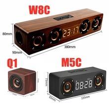 Portable Wooden Soundbar Caixa De Som Bluetooth Speaker Subwoofer Music Sound Box LED Display Internet Radio Clock Alarm Digital