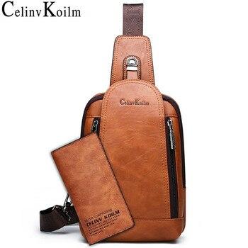 Celinv Koilm Men Crossbody Bag Big Size Daily Chest Bag High Quality Large Capacity Split Leather Shoulder Sling Bag For IPad