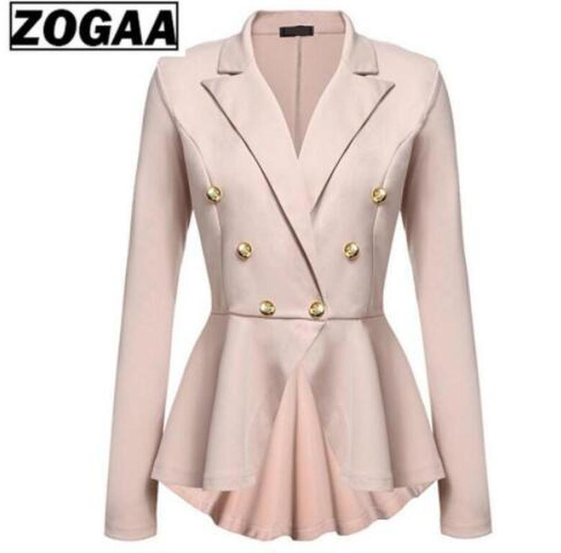 ZOGAA Autumn Women Short Blazer Coats 2019 Winter Womens V-Neck Slim Solid Office Lady Jackets Elegant Female Button Short Coats