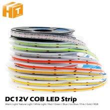 Dc12v 384 leds cob led strip 630leds rgb flexível cob luzes led vermelho/greeen/azul/gelo azul/rosa/ouro fita led 5 m/lote