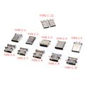 5 шт. Тип C USB 3,1 SMT разъем 24P USB Горизонтальное среднее крепление мужской женский сквозная плата для зарядного устройства адаптер DIY