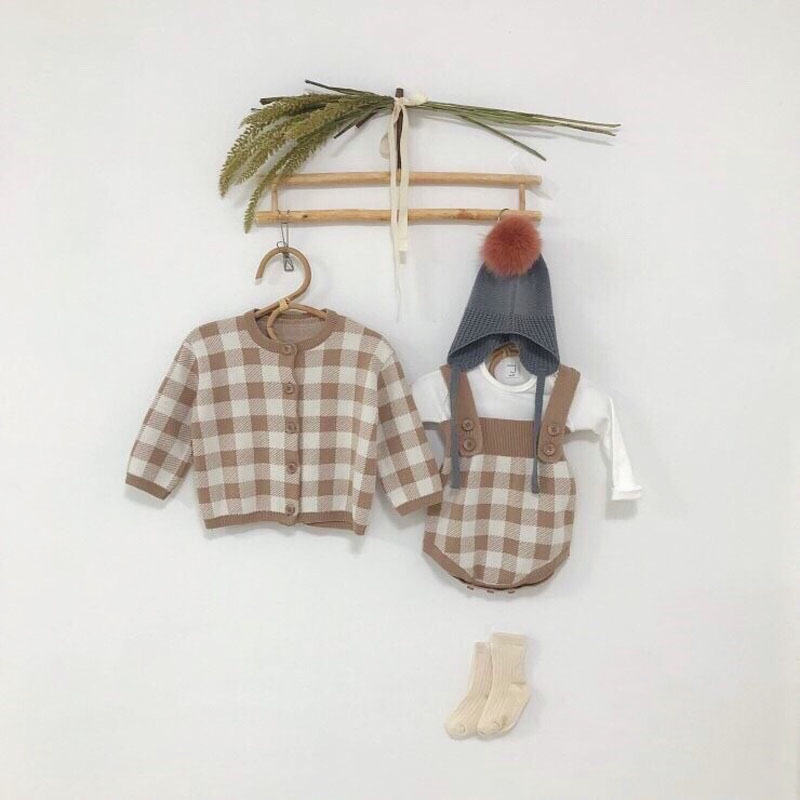 MILANCEL New Baby Clothes Cute Baby Knit Bodysuits Plaid Baby Girls Bodysuits