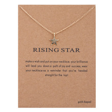 Hot Sale Sparkling Star Gold Pendant Necklace Clavicle Chains Statement Women Jewelry(Has card)