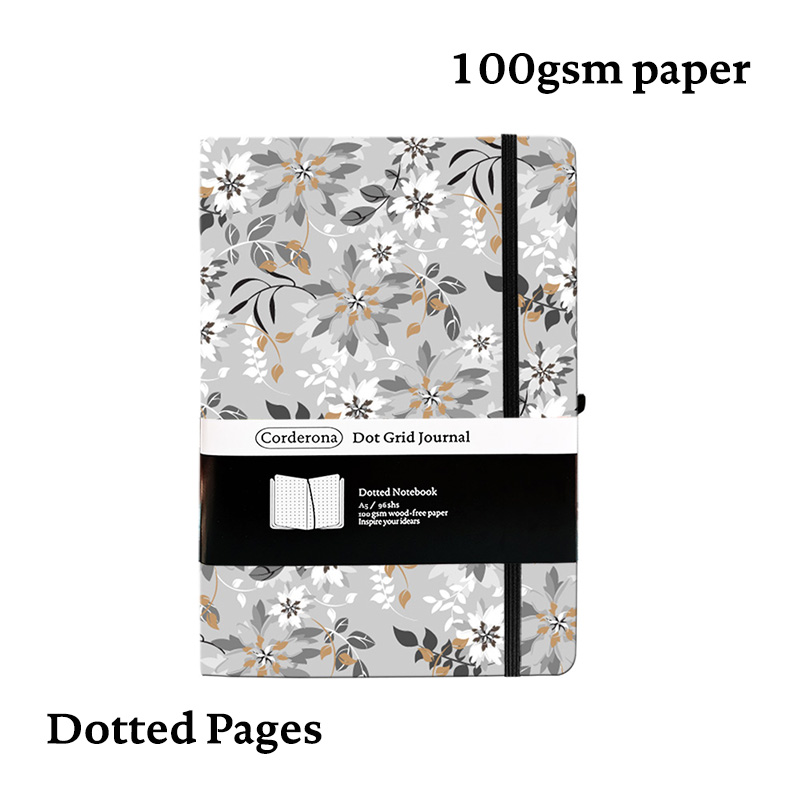 A5 Dotted Bullet Notebook, Hard Cover, 142x205mm, 192 Pages, 100g, Elastic Band, Dot Grid Journal, Drop Shipping
