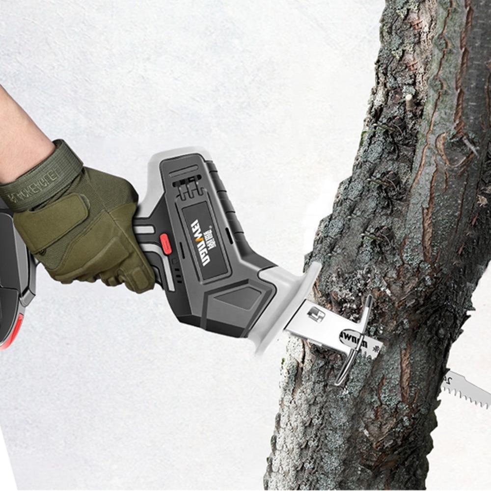 NANWEI Cordless Reciprocating Saw 21V Electric Saw 2.0Ah Li-ion Battery 22mm Stroke with Saw Blades Sawing Cutting Tool