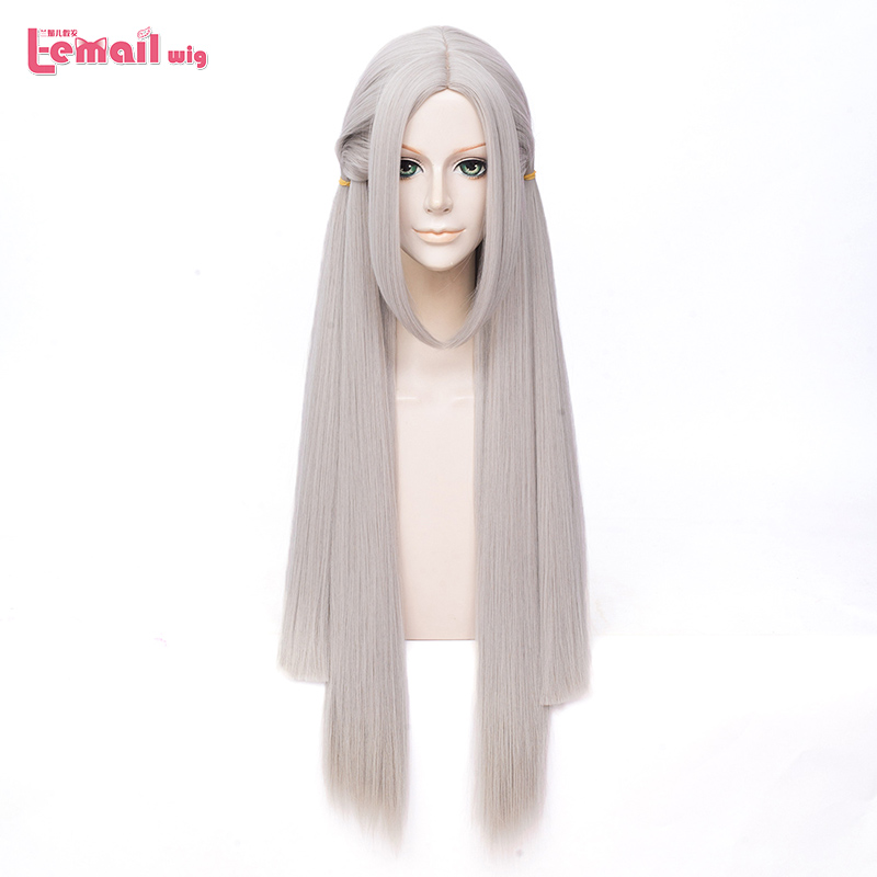 L-email Wig Fire Emblem Edelgard Cosplay Wig Three Houses Edelgard Cosplay Long Grey Straight Wig Heat Resistant Synthetic Hair