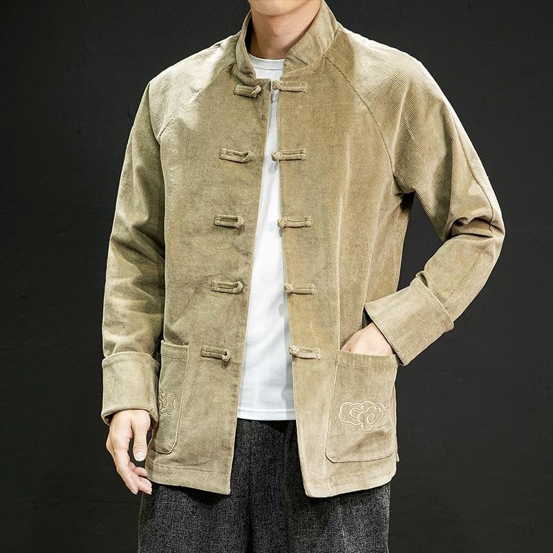 Men'S Winter Solid Chinese Mandarin Jacket Men Coat 2019 Corduroy Chinese Style Plus Size Coat Kimono Kung Fu Qipao Men KK3014