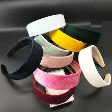 8PC /4cm szerokość moda kobiety aksamitne szerokie wysokiej jakości DIY Hairband wygodne pałąk prosty czarny losowy kolor