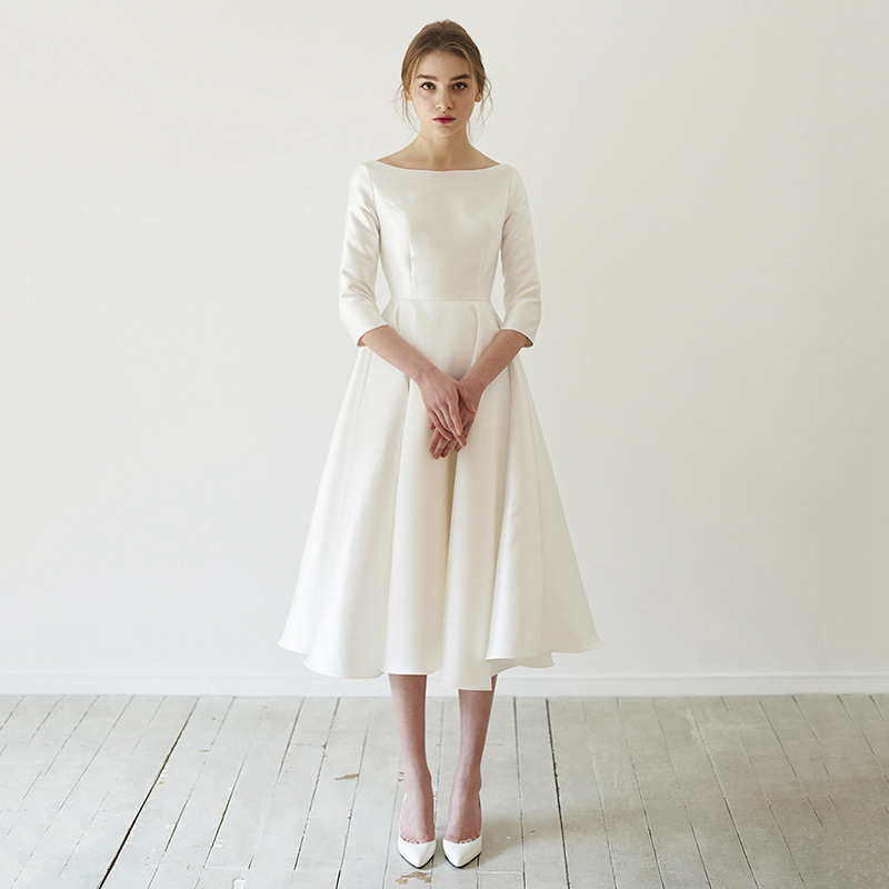 Holievery Half Sleeves Satin Cocktail Dress 2020 Ivory White Simple Tea Length Party Dresses Elegant