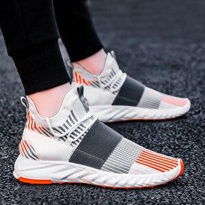 Image 3 - Socke Schuhe Mesh Turnschuhe Neuheiten Casual Flache Müßiggänger Mode Tenis Masculino Adulto Atmungsaktiv Männer Turnschuhe Slip auf Schuhe
