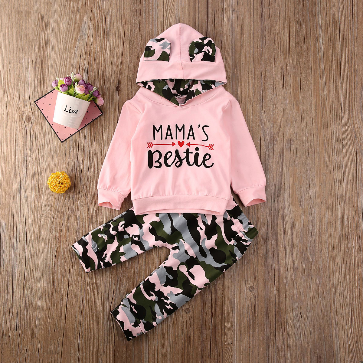 Pudcoco Newborn Baby Girl Clothes Letter Camouflage Long Sleeve Hooded Tops Long Pants 2Pcs Outfits Cotton Clothes Tracksuit