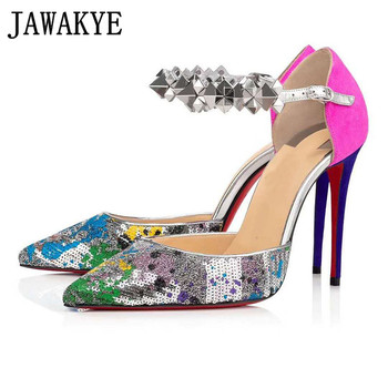 Colorful Sequined high heel Mary Janes Women Rivets ankle buckle pointed toe Stiletto Pumps Formal Dress Party Shoes Women