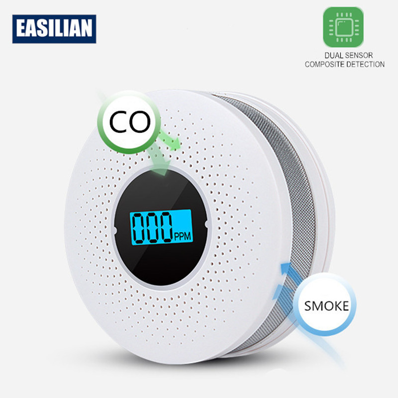 Composite 2 In 1 CO And Smoke Detector With LCD Display Carbon Monoxide And Cigarette Dual Sensor With LEDflash  Home Fire Alarm