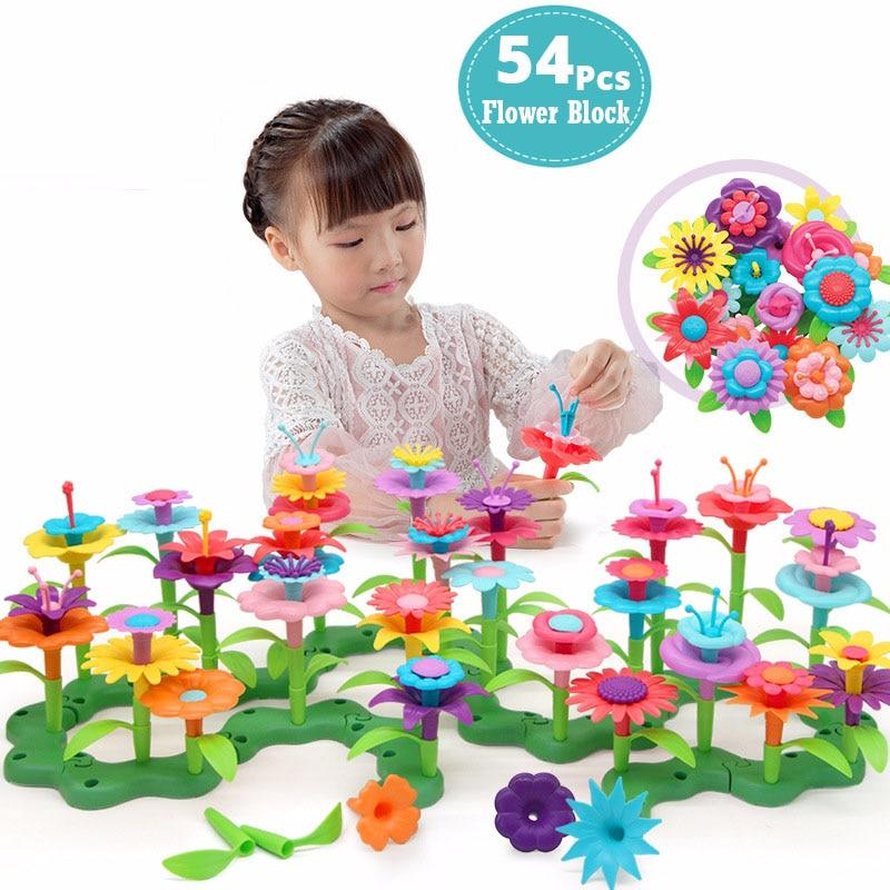 54Pcs DIY Flower Building Bouquet Dream Garden Girls Flower Interconnecting Blocks Toys Educational Creative Pretend Play Toys