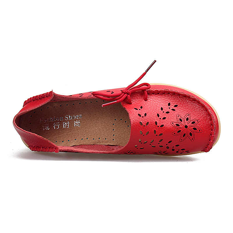 Spring Shoes Woman Flats Genuine Leather Fashion Shoes Female Cutout Slip On Ballet Flats Loafers Casual Ladies Boat Footwear
