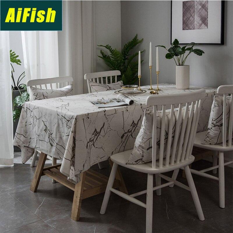 Moderne minimaliste imprimé nappe blanc marbre motif Style couverture nappe lin poussière couverture ZB-TM005-3