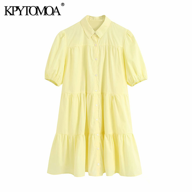 KPYTOMOA Women 2020 Sweet Fashion Ruffled White Mini Dress Vintage Lapel Collar Puff Sleeve Female Dresses Chic Vestidos Mujer 4